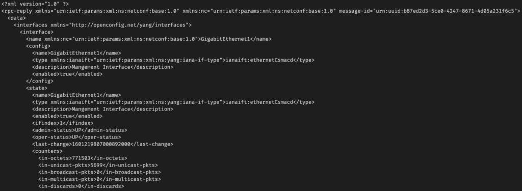 IOS-XE NETCONF Get XML
