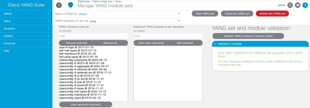 YANG Suite module set